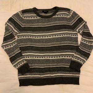 Forever 21 Gray & White Patterned sweater